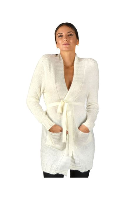 Long Cardigan Woman Ivory Pink Memories | Knitwear | 1095604