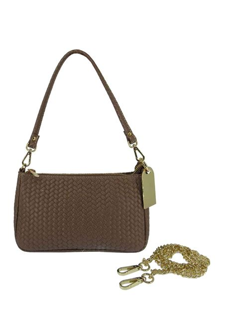 Women's Bibi Clutch Bag in Tan Braided Leather with Leather Shoulder Strap and Gold Chain 091a0021 Almala | Bags and backpacks | BIBI014