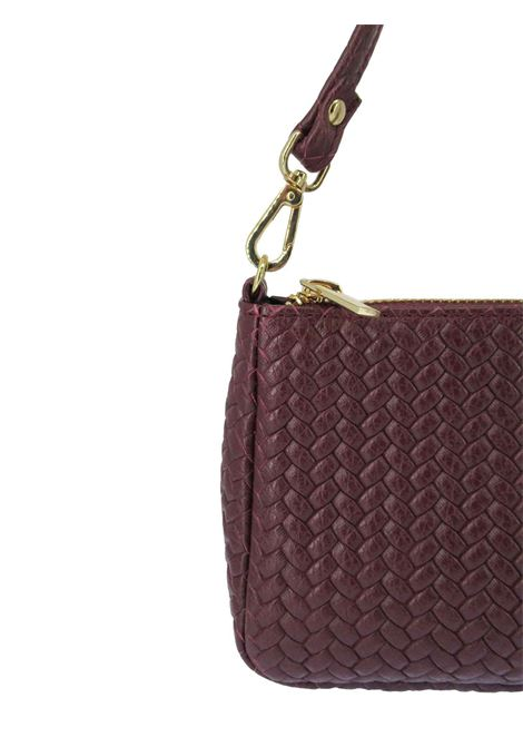 Women's Bibi Clutch Bag in Bordeaux Braided Leather with Leather Shoulder Strap and Gold Chain 091a0021 Almala | Bags and backpacks | BIBI018