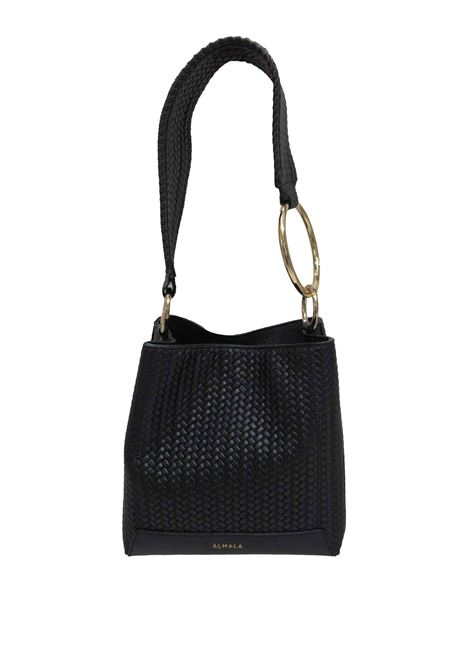 Women's Loren Shoulder Bag in Black Braided Leather with Leather Shoulder Strap and Gold Chain cd041a0021 Almala | Bags and backpacks | LOREN001