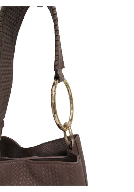 Women's Loren Shoulder Bag in Tan Braided Leather with Leather Shoulder Strap and Gold Chain cd041a0021 Almala | Bags and backpacks | LOREN014