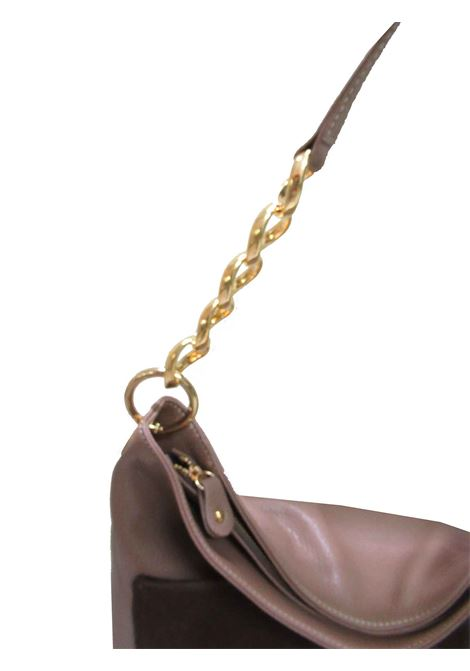Women's Large Shoulder Shopping Bag Norma in Tan Leather with Adjustable Leather Shoulder Strap with Gold Chain cg071a0211 Almala | Bags and backpacks | NORMA014