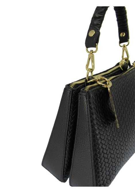 Women's Small Shoulder Bag Pennie in Black Braided Leather with Adjustable and Detachable Leather Shoulder Strap cc031a0021 Almala | Bags and backpacks | PENNIE001