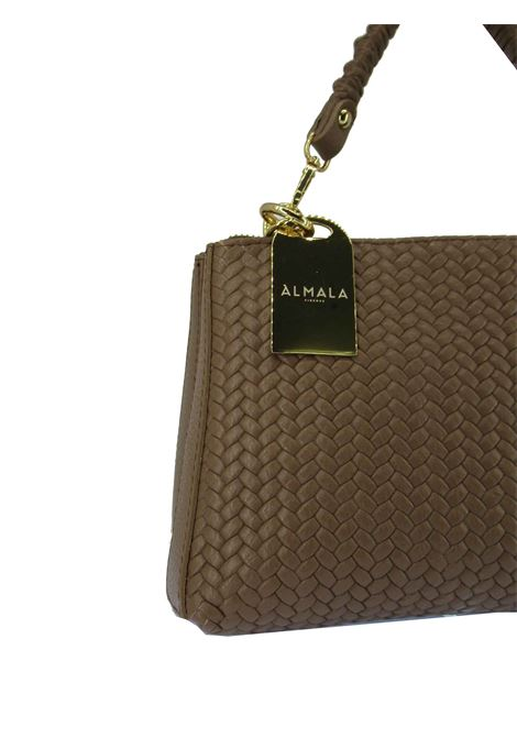 Women's Small Shoulder Bag Pennie in Tan Braided Leather with Adjustable and Detachable Leather Shoulder Strap cc031a0021 Almala | Bags and backpacks | PENNIE014