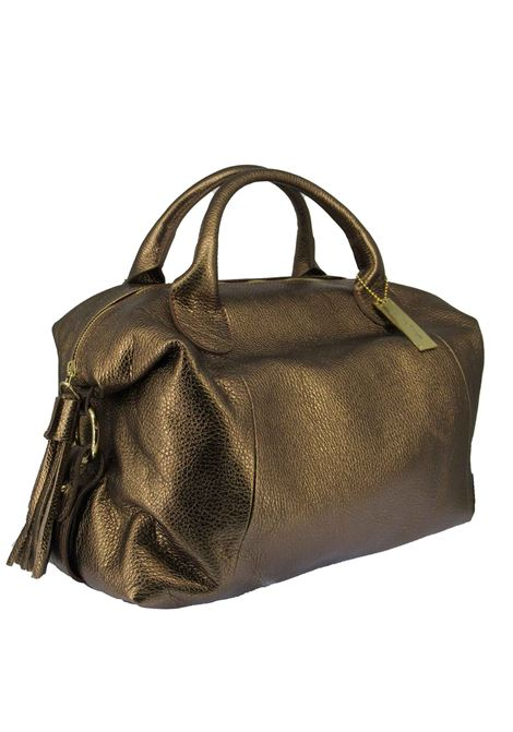 Women's River Shoulder Bag in Bronze Laminated Leather with Adjustable and Detachable Leather Shoulder Strap gd041c3111 Almala | Bags and backpacks | RIVER601