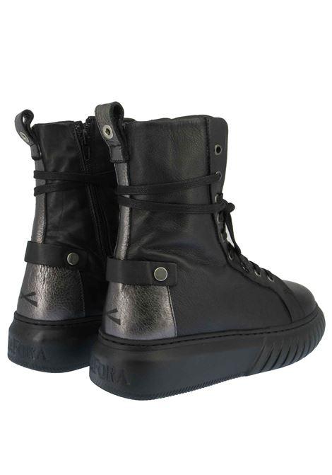 Calzature Donna Stivaletti Sneakers Alti e Stringate in Pelle Nera con Riporti e Fondo Gomma Nero Andiafora | Stivaletti | SEILOR001