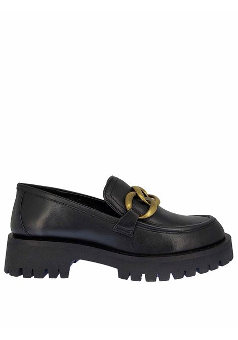 Women's Shoes Ru Caty Loafers in Black Leather with Burnished Chain and Rubber Sole Bruno Premi | Mocassins | BC0102X001