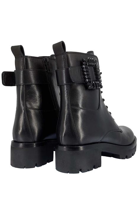 Women's Shoes Gao Ely Amphibius Boots in Black Leather with Buckle and Side Strap and and Rubber Tank Sole Bruno Premi | Ankle Boots | BC0501X001