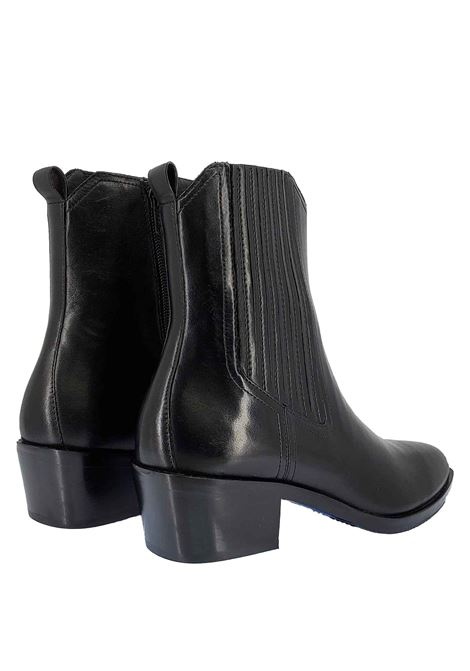 Women's Shoes Texan Beatles Boots in Black Leather with Side Elastic Covered in Leather in Matching Color Bruno Premi | Ankle Boots | BC1003X001