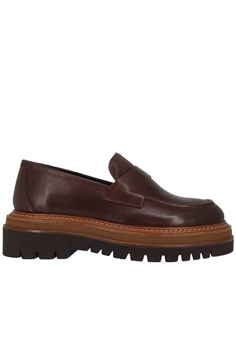 Women's Shoes Loafers Duo Fo in Brown Leather with Matching Bandage and Tank Sole Bruno Premi | Mocassins | BC1901X013
