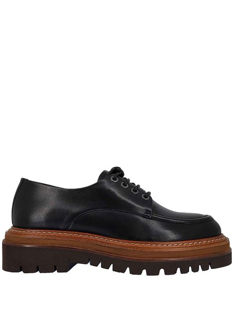 Women's Shoes Lace-up in Black Leather with Norwegian Tray and Rubber Tank Sole Bruno Premi | Lace up shoes | BC1902X001