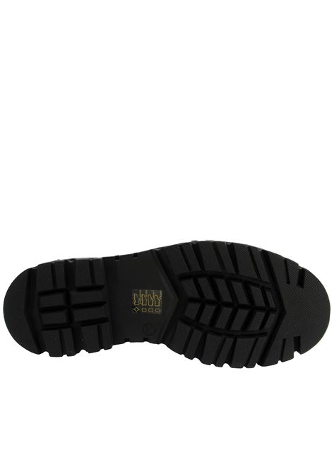 Calzature Donna Stivaletti Anfibi Combat Boot in Pelle Nera con Fibbia in Tinta e Fondo Gomma Carrarmato Bruno Premi | Stivaletti | BC3001X001