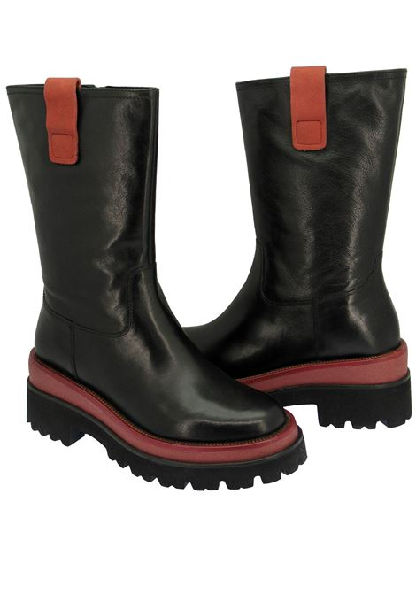 Women's Shoes Amphibious Ankle Boots in Black Leather with Ruby Red Inserts and High Sole Rubber Tank Bruno Premi | Ankle Boots | BC3302X001