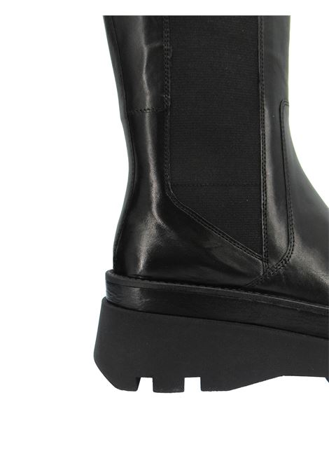 Women's Shoes Boots Beatles in Black Leather with Side Elastic and Rubber Wedge Bruno Premi | Boots | BC3503X001