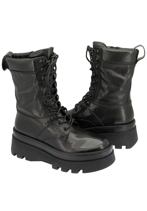Women's Shoes Laced Amphibian Boots in Black Leather with High Rubber Tank Sole Bruno Premi | Ankle Boots | BC3508X001