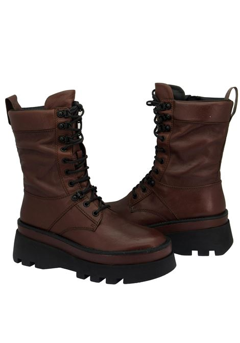 Women's Shoes Laced Amphibian Boots in Brown Leather with High Rubber Tank Sole Bruno Premi | Ankle Boots | BC3508X012