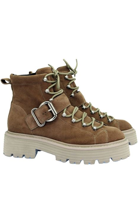 Women's Shoes Laced Ankle Boots in Beige Suede with Trekking Lacing and Tank Sole Bruno Premi | Ankle Boots | BC3702X504