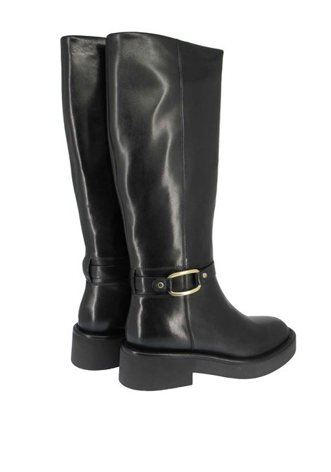 Women's Shoes Boots in Black Leather with Gold Side Buckle and Rubber Sole Bruno Premi | Ankle Boots | BC4002X001