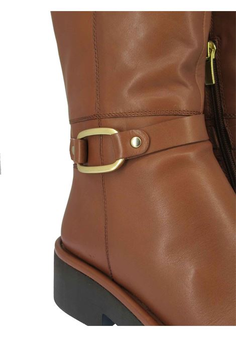 Women's Shoes Boots in Brown Leather with Gold Side Buckle and Rubber Sole Bruno Premi | Ankle Boots | BC4002034