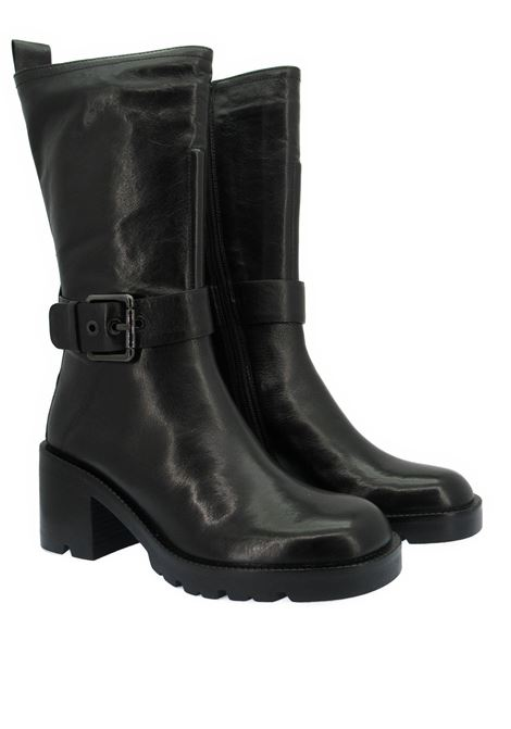 Women's Shoes Ankle Boots in Black Leather with Side Buckle and High Rubber Sole Bruno Premi | Ankle Boots | BC4601X001