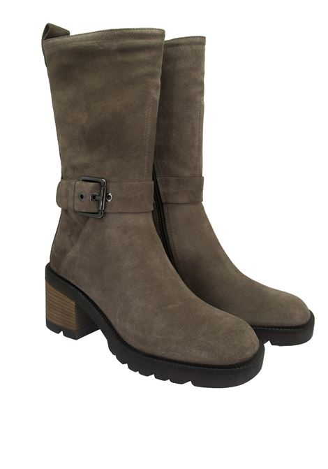 Women's Shoes Ankle Boots in Taupe Suede with Side Buckle and High Rubber Sole Bruno Premi | Ankle Boots | BC4601X023
