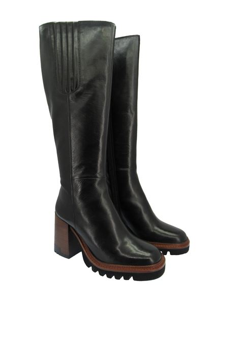 Women's High Boots in Black Leather with High Heel and Plateau Tank Bruno Premi | Boots | BC4703X001