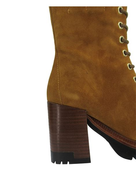 Women's Shoes Amphibious Lace-up Ankle Boots in Tan Suede with High Heel and Plateau Tank Bruno Premi | Ankle Boots | BC4704X034
