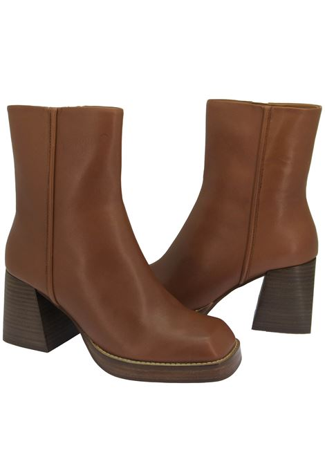 Women's Shoes Ankle boots in Brick Leather Square Toe High Heel Non-slip Rubber Sole Bruno Premi | Ankle Boots | BC5101X034
