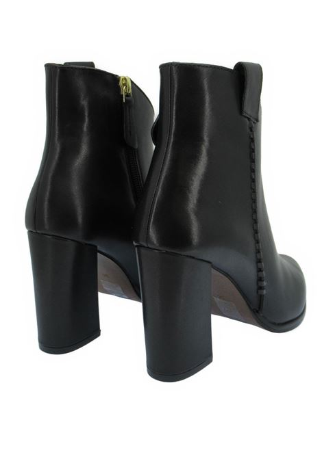 Women's Ankle Boots in Black Leather with Matching Leather Braid Pointed toe and High Heel Bruno Premi | Ankle Boots | BC6001X001