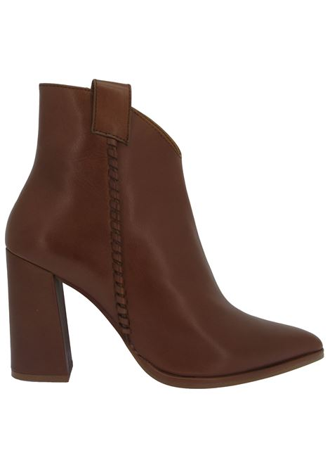 Women's Ankle Boots in Brick Leather with Matching Leather Braid Pointed toe and High Heel Bruno Premi | Ankle Boots | BC6001X034