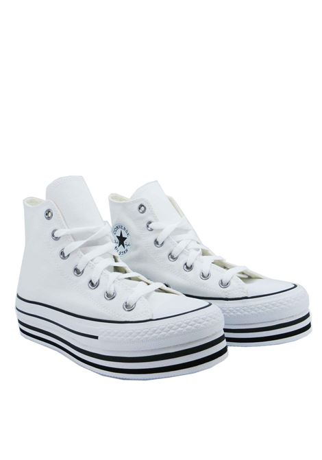 Women's Shoes Sneakers Chuck Taylor Hight Top in White Canvas and Platform Sole Converse | Sneakers | CHUCK TAYLOR564485C