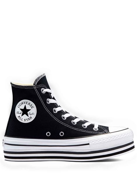 Women's Shoes Sneakers Chuck Taylor Hight Top in Black Canvas and Platform Sole Converse | Sneakers | CHUCK TAYLOR564486C