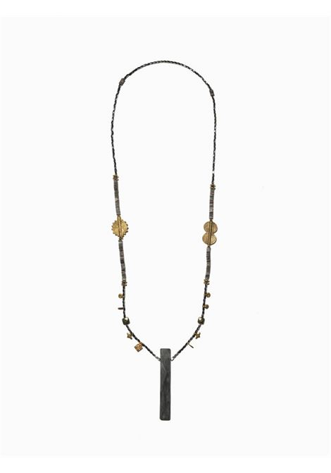 Women's Accessories Necklace Northia in Anthracite Grey Hematite Golden Charms and Totem of Gray Bone EI.EL |  | NORTHIA01