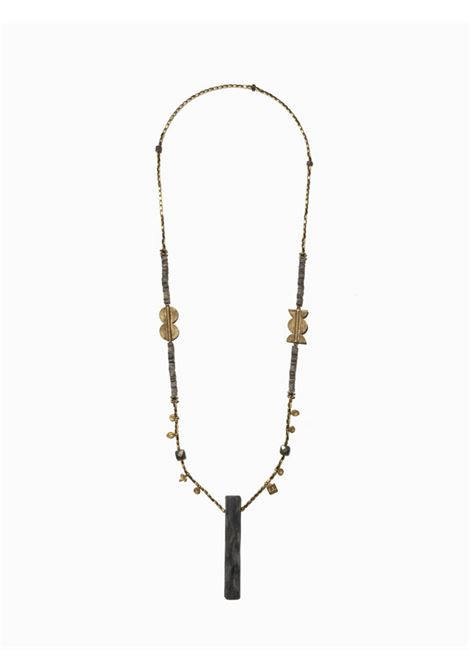 Women's Accessories Necklace Northia in Gold Hematite Golden Charms and Totem of Gray Bone EI.EL |  | NORTHIA02