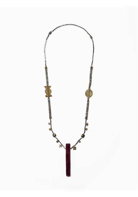Women's Accessories Necklace Northia in Silver and Gold Hematite Golden Charms and Totem of Bordeaux Bone EI.EL |  | NORTHIA05