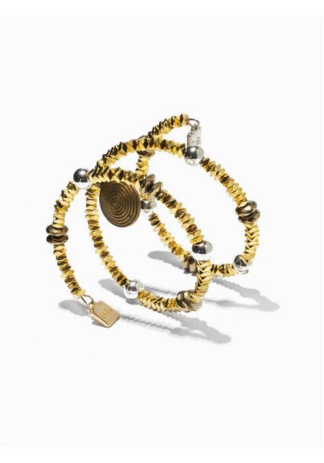 Accessori Donna Bracciale Velia in Ematite Oro con Rosone e Sfere Alluminio EI.EL | Bracciali | VELIA13