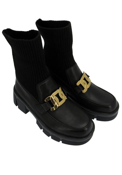 Women's Shoes Ankle Boots in Black Eco-Leather with Gold Chain and Matching Sock and Tank Sole Exe | Ankle Boots | N354R413001
