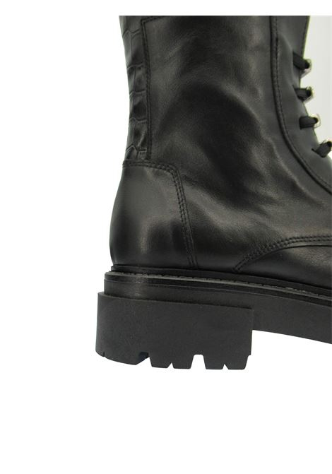 Women's Shoes Ankle Boots in Black Leather with Tank Sole and Elastic Laces Exe | Ankle Boots | N8100731001