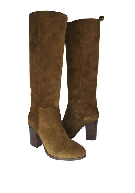 Women's Shoes High Tubo Boots in Tan Suede with High Heel and Leather Sole Fabio Rusconi | Boots | CANDY1247507