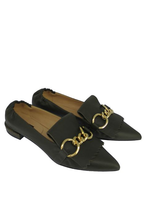 Woman's Shoes Loafers in Green Leather with Fringes and Gold Chain Pointed toe and Low Heel Fabio Rusconi | Mocassins | F-5763038