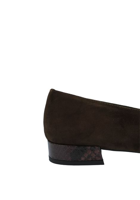 Women's Shoes Loafers in Brown Suede with Leather Accessory and Low Heel Fabio Rusconi | Mocassins | F-5795012