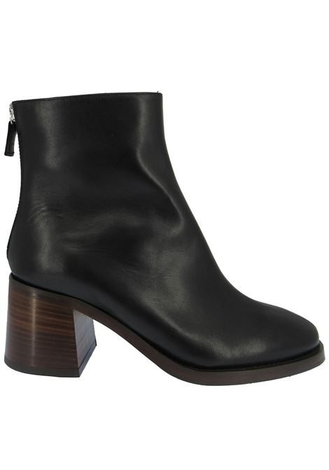 Women's Shoes Ankle Boots in Black Leather with Round Toe and Back Zip with Leather Heel Fabio Rusconi | Ankle Boots | LUCIA1236001