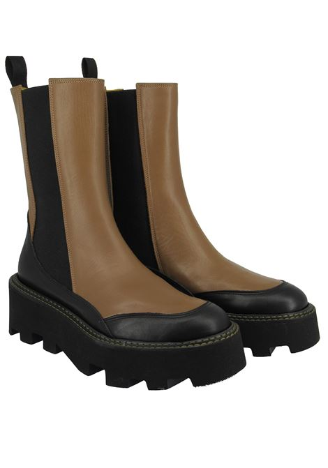 Women's Shoes Beatles Two-tone Tan and Black Leather with Black Elastics and Wedge Tank Festa | Ankle Boots | ARRUBIA014