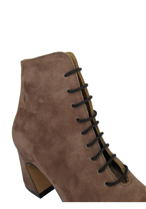Women's Shoes Lace-up Ankle Boots in Taupe Suede with Square Toe and Leather Sole Festa | Ankle Boots | ATERNO023