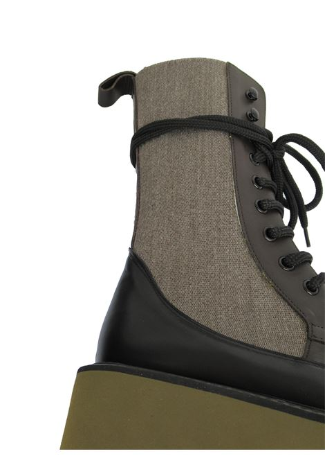 Women's Shoes Lace-up Boots in Brown Leather and Fabric with High Wedge Ultra Light Festa | Ankle Boots | CABRAS013