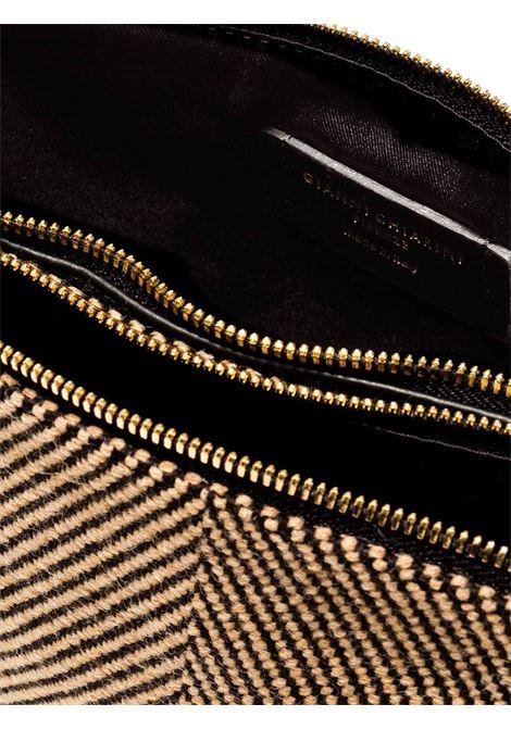 Borsa Donna Pochette Doppia Hermy In Tessuto Spigato e Pelle Nera Tracolla Regolabile E Removibile Gianni Chiarini | Borse e zaini | BS369710313