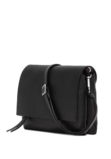Women's Bag Maxi Three Clutch in Black Hammered Leather with Flap and Adjustable and Detachable Cross-body Strap Gianni Chiarini   Bags and backpacks   BS4364001
