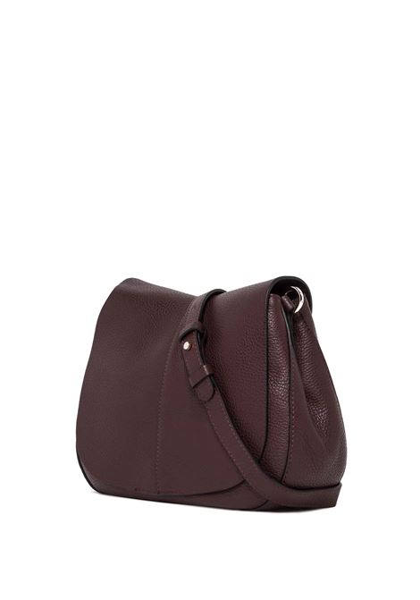 Women's Cross-body Bag Helena Round in Bordeaux Hammered Leather with Flap and Double Adjustable and Detachable Cross-body Strap Gianni Chiarini | Bags and backpacks | BS60366649