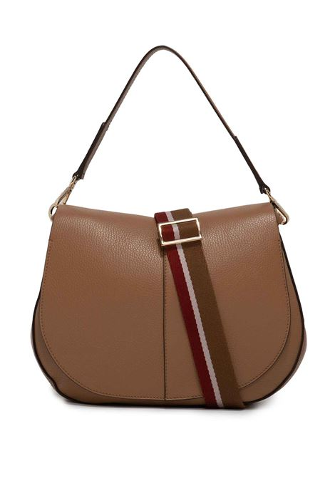 Women's Shoulder Bag Maxi Helena Round in Camel Hammered Leather with Flap and Double Adjustable and Detachable Cross-body Strap Gianni Chiarini | Bags and backpacks | BS6037009