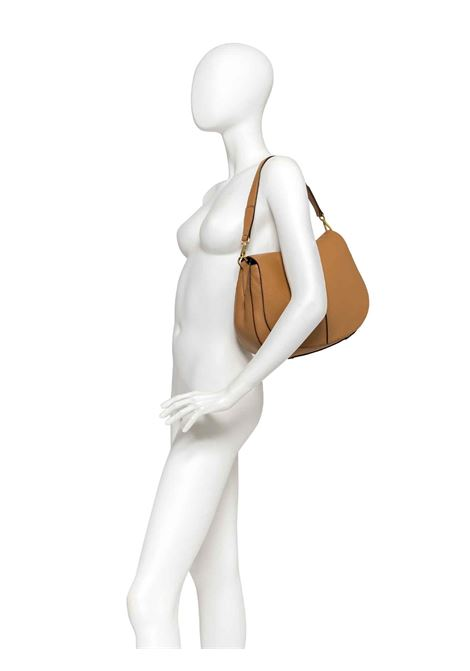 Women's Shoulder Bag Maxi Helena Round in Taupe Hammered Leather with Flap and Double Adjustable and Detachable Cross-body Strap Gianni Chiarini | Bags and backpacks | BS6037442